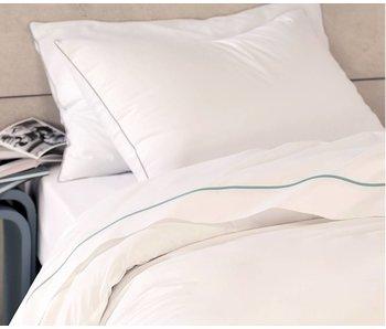 """Matt & Rose luxe tussenlaken Douce Nuit White / Blue """"orage"""" 240X300cm"""