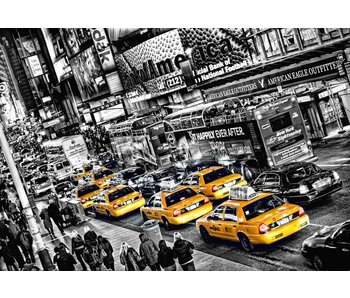 Fotobehang New York, Queue Cabs 366x254 cm