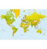 Fotobehang - Carte du monde - 175 x 115 cm - Bleu