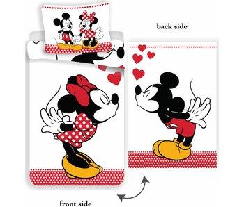 Disney Minnie Mouse Dekbedovertrek kissing 140x200cm + 70x90cm