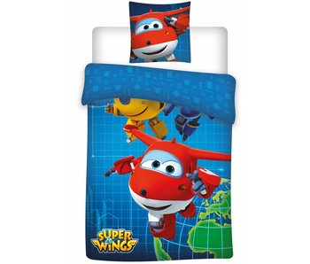Super Wings Dekbedovertrek World 140x200cm microfibre