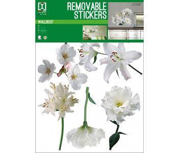Muursticker Wand-Aufkleber Weiße Blumen
