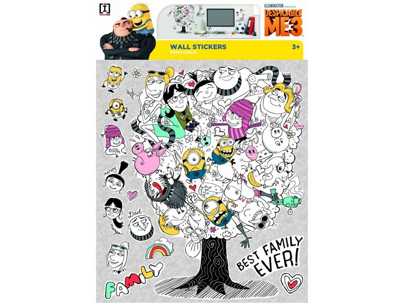 Minions Despicable 3 Family Tree - Wandtattoo - Multi