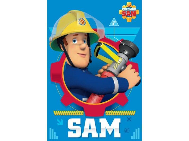 brandweerman sam action - plaid polaire - 100 x 150 cm - rose
