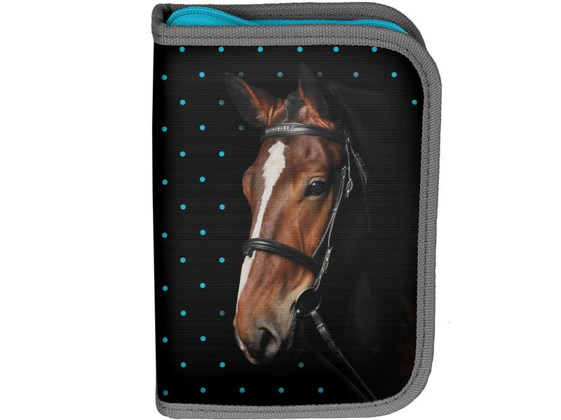 Animal Pictures My beautiful horse - Filled pencil Case - 23 pieces - Black