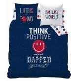 Smiley World Positive - Dekbedovertrek - Lits Jumeaux - 240 x 220 cm - Blauw