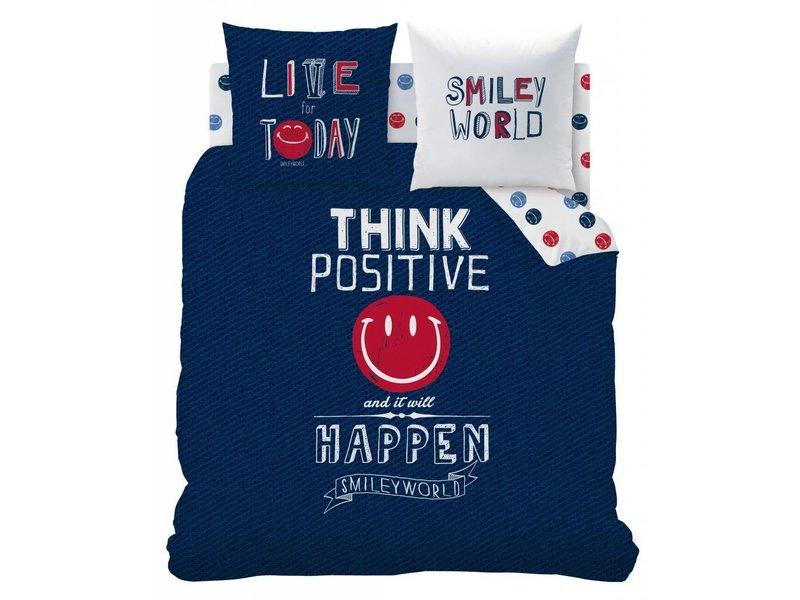 Smiley World Positive - Duvet cover - Lits Jumeaux - 240 x 220 cm - Blue