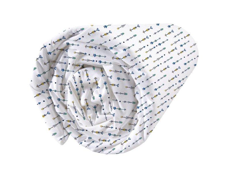 Matt & Rose Petit Indien - Spannbetttuch - Einzel - 90 x 200 cm - weiß, blau