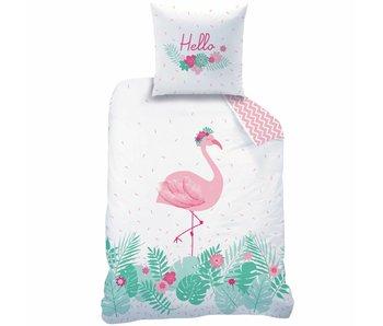 Matt & Rose Dekbedovertrek Flamingo rose  140 x 200 + kussensloop 63x63 cm