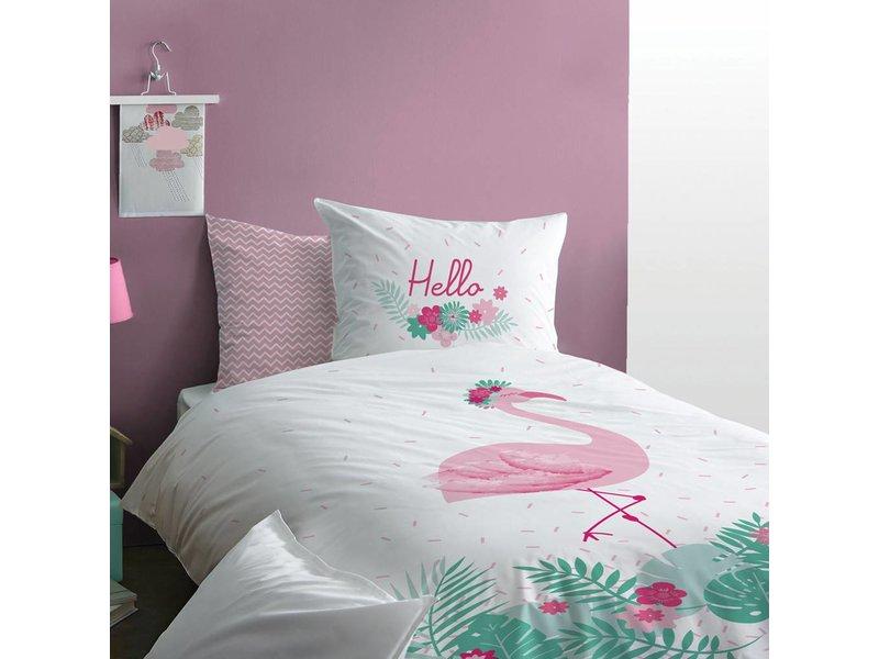 Matt & Rose Flamingo - Dekbedovertrek - Eenpersoons - 140 x 200 cm - Multi