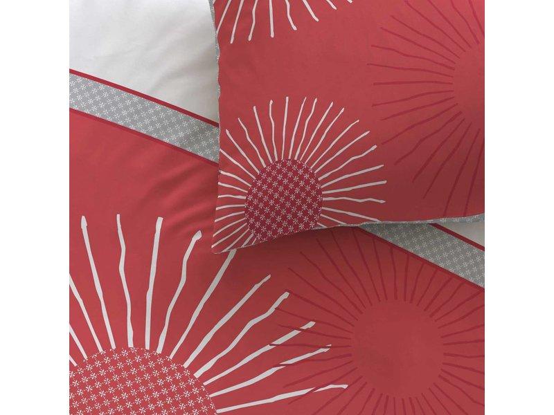 Matt & Rose Style zénith - Housse de couette - Double - 200 x 200 cm - Rouge - Y compris 2 taies d'oreiller
