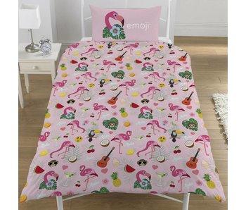 Emoji Dekbedovertrek Flamingo eenpersoons 135x200 + 50x75cm