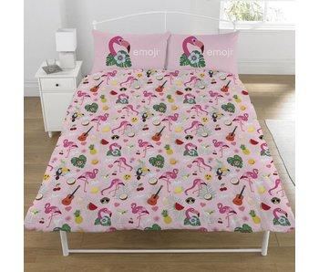 Emoji Bettbezug Flamingo Doppelbett 200x200 + 50x75cm