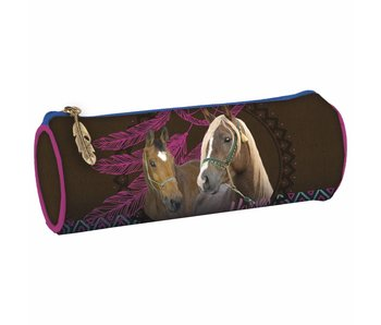 Animal Pictures Round Pencilcase Horses Dreamcatcher 20 cm