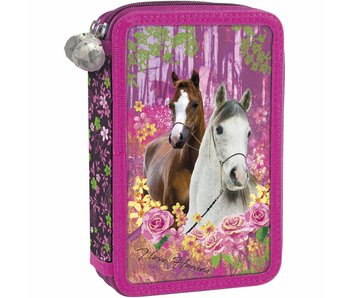 Animal Pictures Filled Pencilcase Horses Forest 2 Zippers