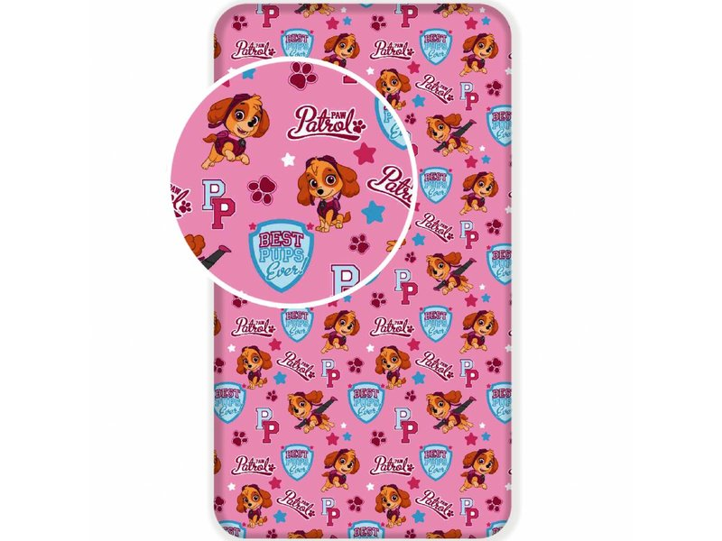 PAW Patrol Best Pups Ever - Fitted Sheet - Single - 90 x 200 cm - Pink