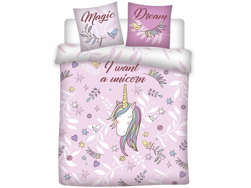 Unicorn Magic Dream - Dekbedovertrek - Tweepersoons - 200 x 200 cm - Roze