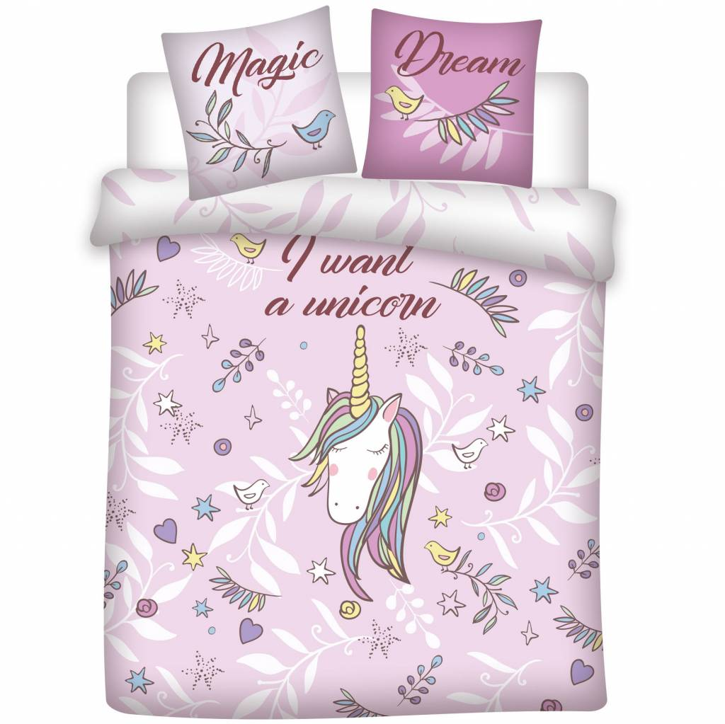 Unicorn Dekbedovertrek Magic Dream - 200 x 200 cm + 2 kussenslopen 65 x 65 cm - Polycotton