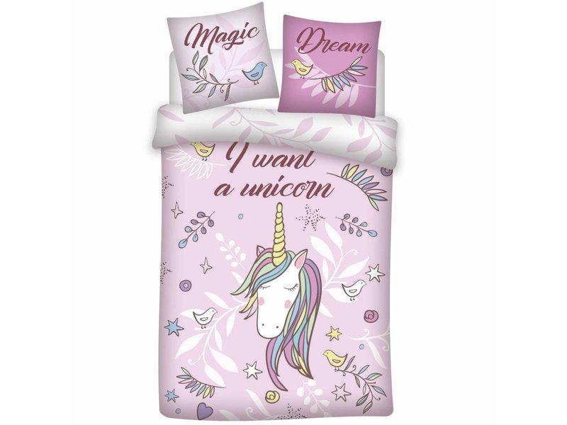 Unicorn Magic Dream - Dekbedovertrek - Eenpersoons - 140 x 200 cm - Roze