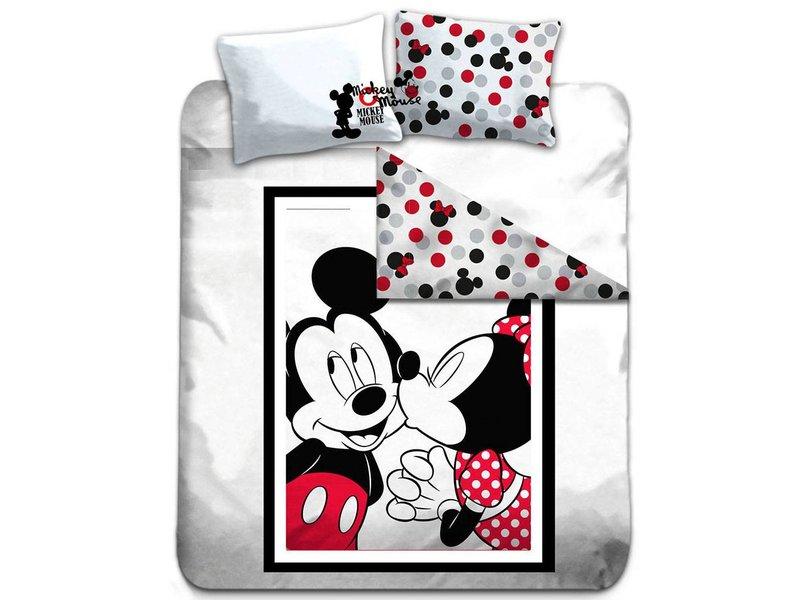 Disney Mickey Mouse Kiss - Dekbedovertrek - Tweepersoons - 200 x 200 cm - Multi