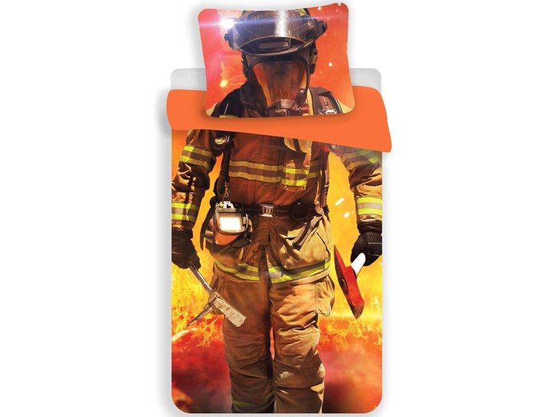 Pompier - Housse de couette - Seul - 140 x 200 cm - Orange