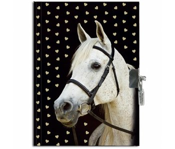 Animal Pictures Scented Diary Golden Horse 15 x 20 cm including lock