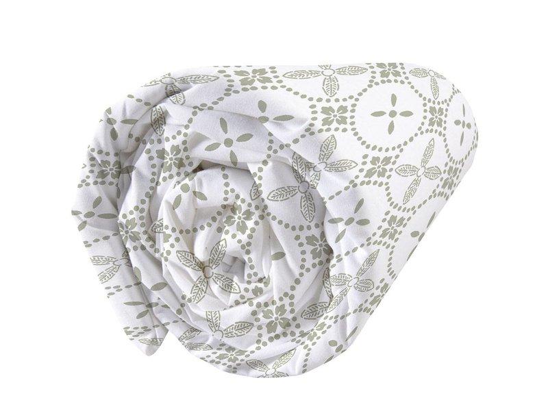 Matt & Rose Tendance Ceramique Kaki - Hoeslaken - Eenpersoons - 90 x 200 cm - Wit