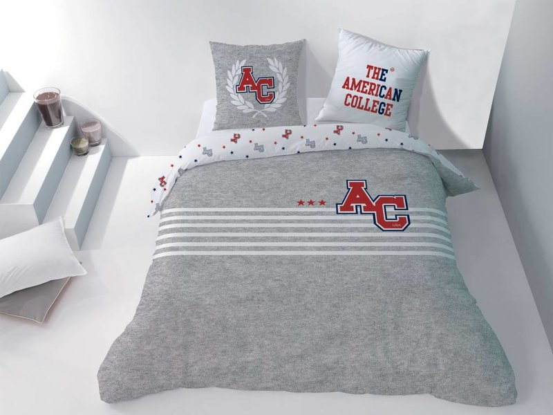 American College Stripes - Dekbedovertrek - Lits Jumeaux - 240 x 220 cm -  Grijs