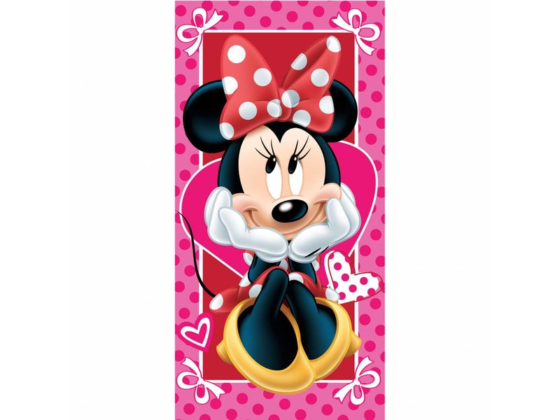 Disney Minnie Mouse Hearts - Strandlaken - 70 x 140 cm - Roze