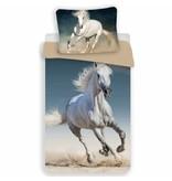Animal Pictures wit paard- Dekbedovertrek - Eenpersoons - 140 x 200 cm - Multi