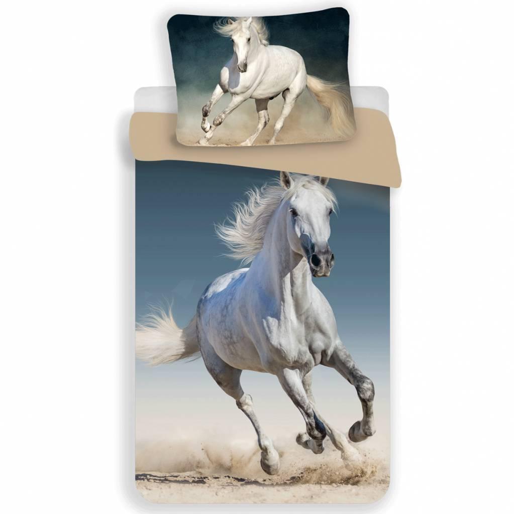 Animal Pictures Dekbedovertrek wit paard - 140x200 cm - 70x90 cm - Katoen