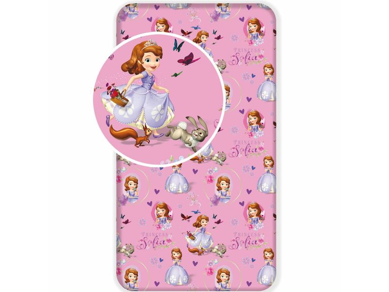 Disney Sofia The First Garden - Fitted sheet - Single - 90 x 200 cm - Pink
