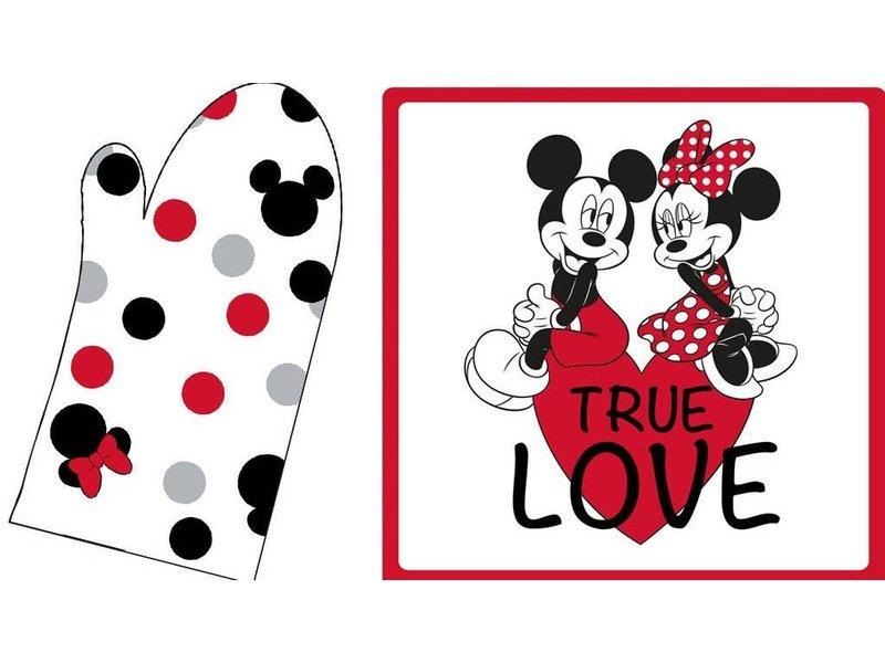 Disney Minnie Mouse Set Oven mitt + pot holder True Love - 20x31cm + 20x20cm - Multi