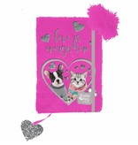 Studio Pets Plush diary kitten and puppy - A5 - without lock - with pen - pink