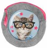 Rachael Hale Clever Kitty - Round plush pouch - including 2 notebooks - 13x13cm - Gray