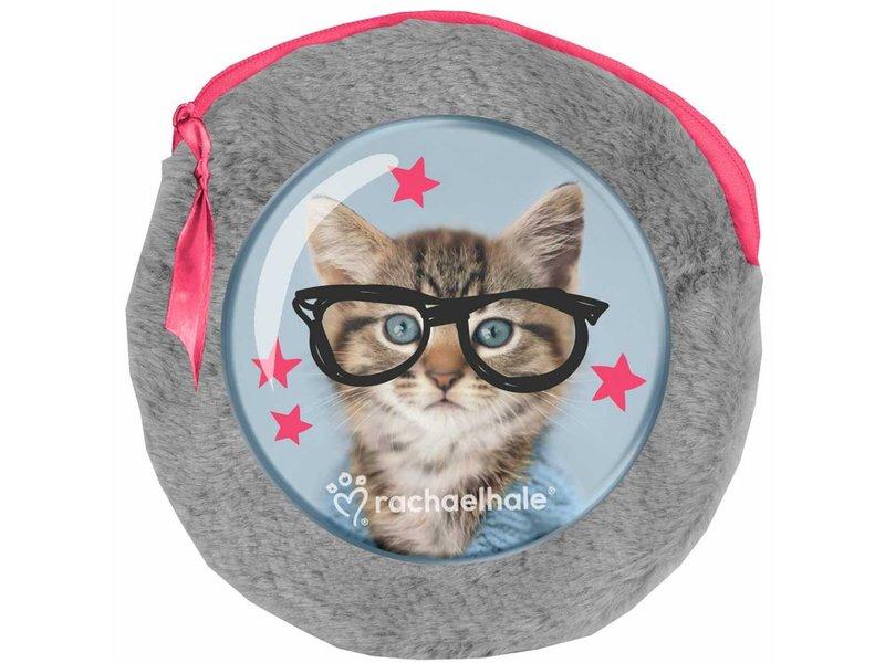 Rachael Hale Clever Kitty - Runder Plüschbeutel - 2 Notizbücher - 13x13cm - Grau