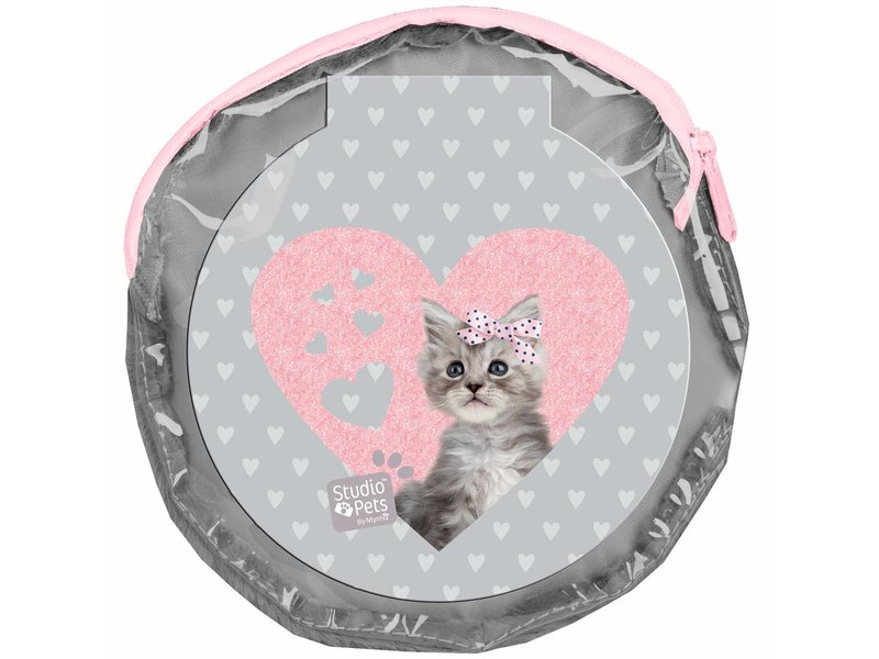 Studio Pets Sweet Kitty - Round Plush pouch - including 2 notebooks - 13 x 13 cm - Gray