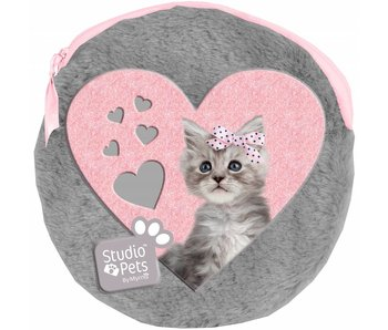 Studio Pets Pochette ronde en peluche Sweet Kitty comprenant 2 cahiers 13x13 cm