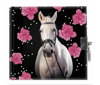Animal Pictures Diary Horse Flowers 13,5x13cm including lock