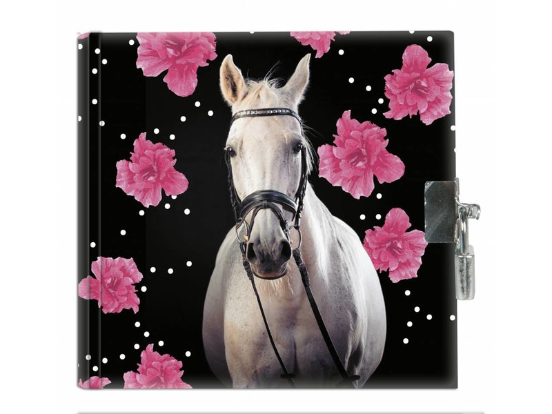 Animal Pictures Horse Flowers - Diary - 13.5 x 13 cm - Includse lock