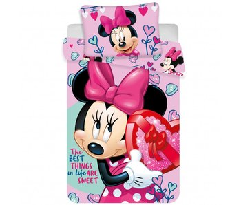 Disney Minnie Mouse Baby Dekbedovertrek Pink Hearts 100x135cm