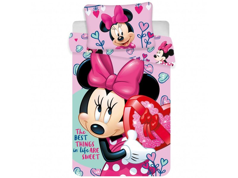 Disney Minnie Mouse Pink Hearts - Baby Dekbedovertrek - 100 x 135 cm - Multi
