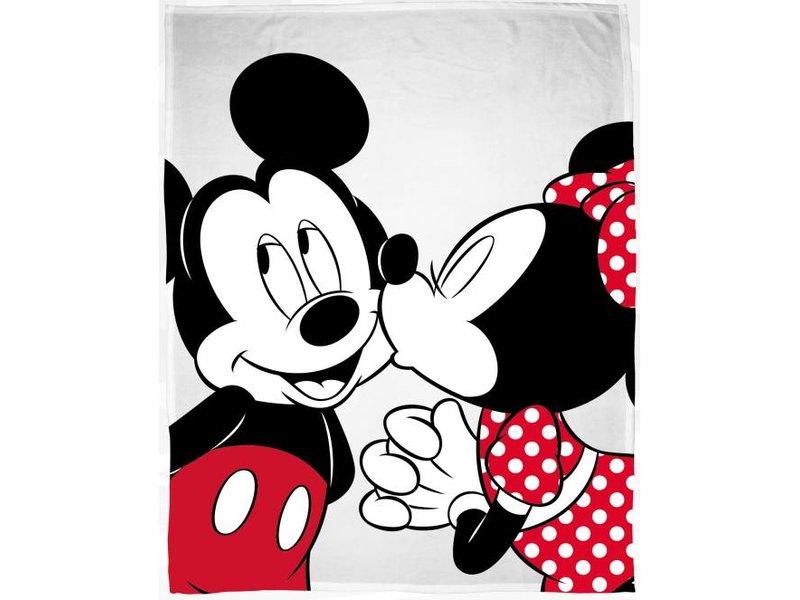 Disney Minnie Mouse Kiss - Fleeceplaid - 130 x 160 cm - Wit
