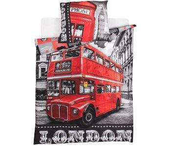 Londen Dekbedovertrek Bus 140x200 + 70x90cm