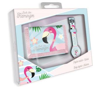 Flamingo Brieftasche + Uhrenset