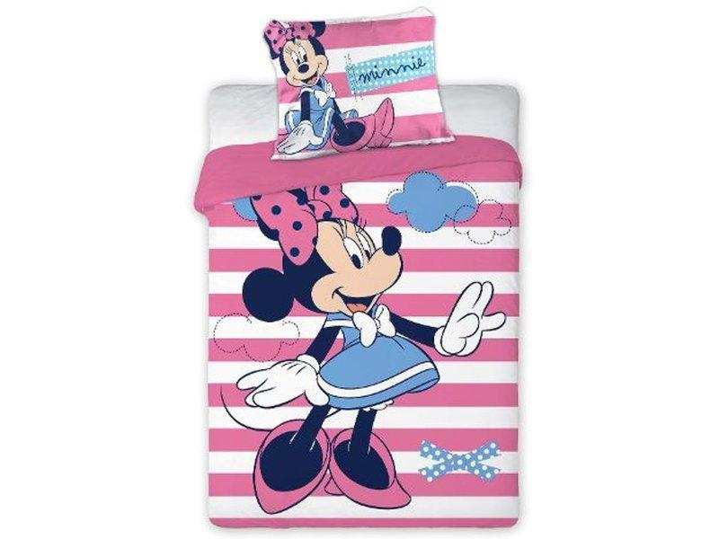 Disney Minnie Mouse Stripes - BABY dekbedovertrek - 100 x 135 cm - Roze