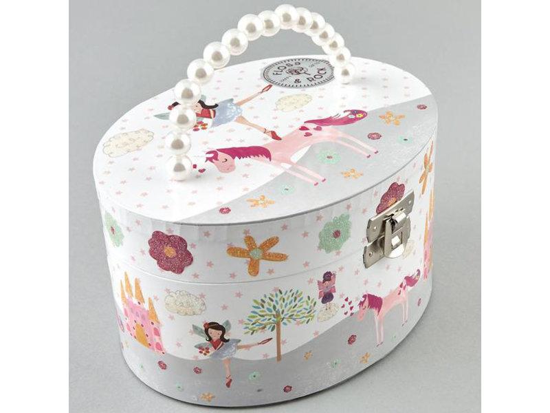 Floss & Rock - Fairy & Unicorn - Music / Jewelry box - 8.5 x 15.5 x 12 cm - White