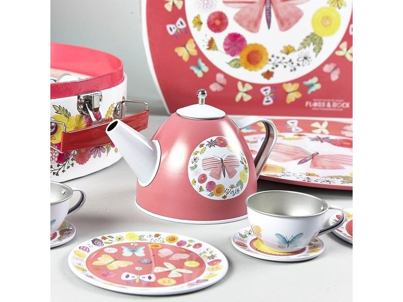 Floss & Rock Butterfly - Pewter tea set - 9 pieces - Multi