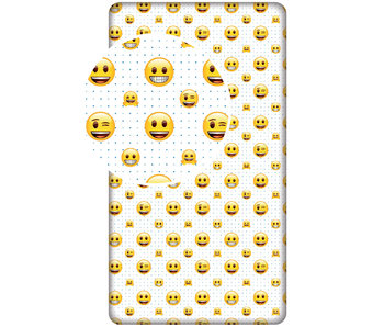 Emoji Hoeslaken Laugh Every Day 90x200cm