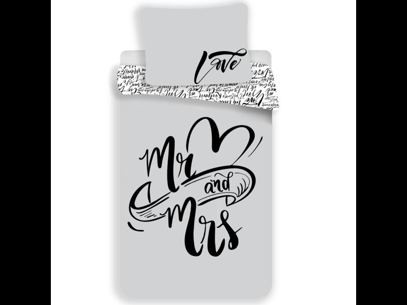 Mr & Mrs - Dekbedovertrek - Eenpersoons - 140 x 200 cm - Grijs